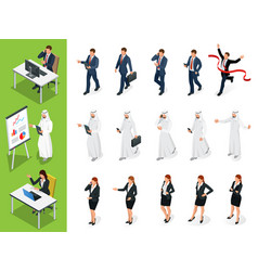 isometric business characters poses set of vector image