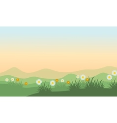 Landscape of hill at spring vector