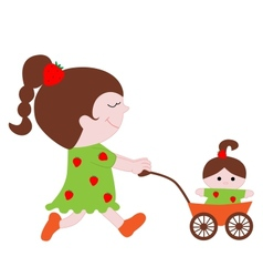 Lovely little girl with a doll in the stroller vector