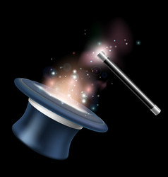 Magic tophat and magic wand vector