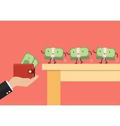 Money walking into a wallet vector