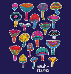 Mushrooms stickers set in hallucinogenic colors vector