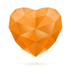 Orange polygon heart vector