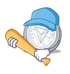 Playing baseball tron coin character cartoon vector