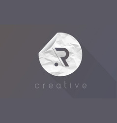 R letter logo with crumpled and torn wrapping vector