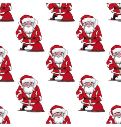 Seamless pattern with cartoon Santa Claus vector image vector image