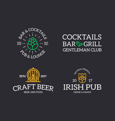 set of retro vintage beer and alcohol hop barrel vector image vector image