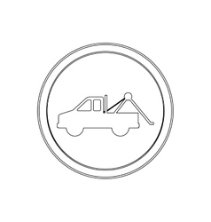 Silhouette circular shape with with tow truck vector