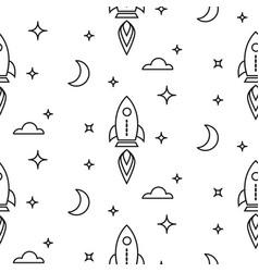 Space rocket scandinavian line style seamless vector