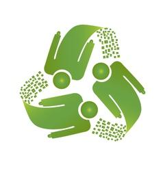 Teamwork recycle men logo vector image