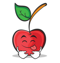 tongue out cherry character cartoon style vector image