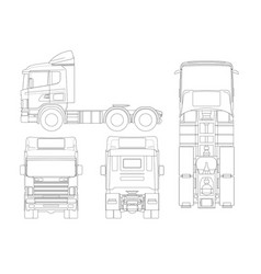 Truck tractor or semi-trailer truck in outline vector