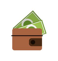 wallet dollar money cash vector image