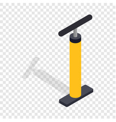 Yellow hand bicycle pump isometric icon vector