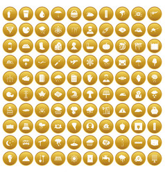 100 thunderstorm icons set gold vector