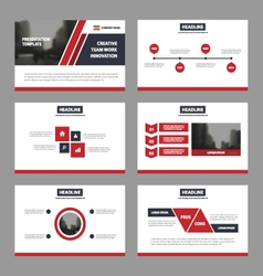 Red black presentation templates infographic set vector