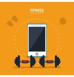 Weight and smartphone icon fitness design vector