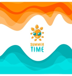 Summer poster with funny sun vector image