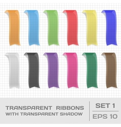 Transparent ribbons set 1 tags bookmarks vector