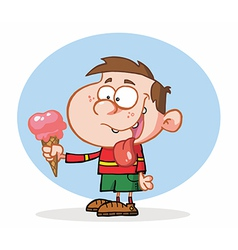 Little boy eating an ice cream vector