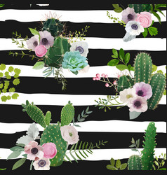 cactus and flowers seamless pattern vector image