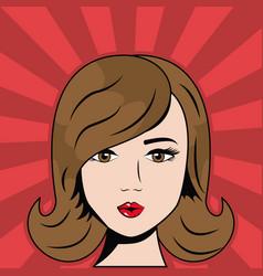 Brunette woman pop art comic vector