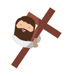 Holy jesuschrist with cross character icon vector