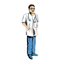Doctor male with stethoscope and mustache vector