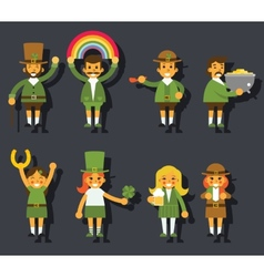 Leprechauns ggnomes characters set celebration st vector