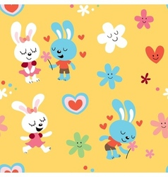 Bunnies in love seamless pattern vector