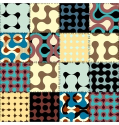 Patchwork with retro geometric patterns vector
