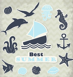 Stickers of marine subjects in blue tones vector