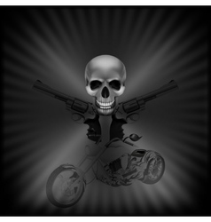 background biker skull and revolvers vector image