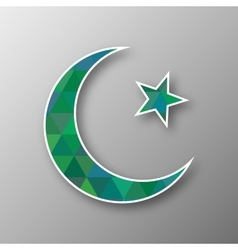 Crescent moon with star in triangle mosaic vector