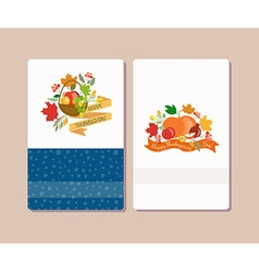 Collection of labels and elements for thanksgiving vector