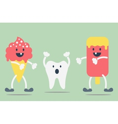teeth problem from ice cream vector image