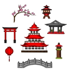 Japan travel and culture cions vector