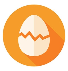 Egg with broken eggshell circle icon vector