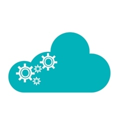 Cloud with gears icon vector