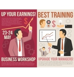 Business training consulting flat vertical banners vector