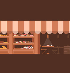 bakery facade showcase with sweets vector image
