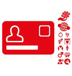 Banking card icon with love bonus vector