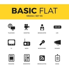 Basic set of media icons vector
