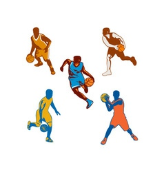 Basketball Player Dribbling Ball Collection vector image vector image