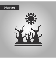 Black and white style nature drought disaster vector