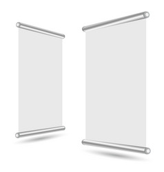 Blank roll-up banner stand template vector