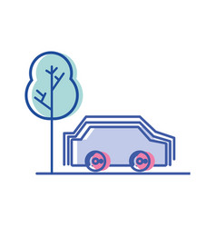 car transportation in the road via with tree vector image
