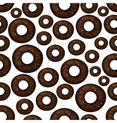 Chocolate doughnuts retro cartoon seamless pattern vector image vector image