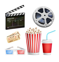 cinema movie icons set realistic items film vector image vector image