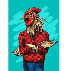 Cock fashion style vector